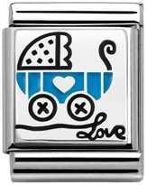 Nomination My Family Big Silver Light Blue Pram Charm 332203/09