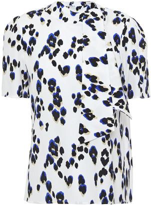 Claudie Pierlot Tie-neck Leopard-print Crepe Top