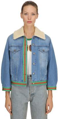 Gucci Denim Jacket W/ Web & Faux Shearling