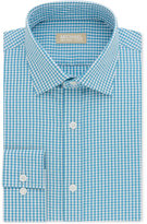 Michael Kors Men's Classic/Regular Fit Non-Iron Lagoon Sutton Square Check Dress Shirt