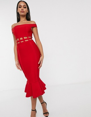 ASOS DESIGN off shoulder premium bandage cage detail pep hem bodycon midi dress in hot red