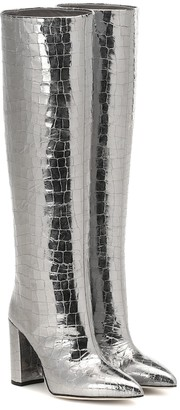 Paris Texas Metallic croc-effect knee-high boots