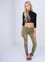 Missy Empire Catia Khaki Low Rise Ripped Skinny Jeans