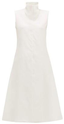 The Row Virginia Funnel-neck Silk-organza Midi Dress - White