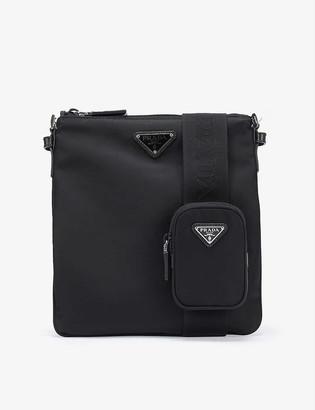Prada Brand-plaque zipped small nylon cross-body bag