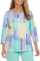 Alfred Dunner Captiva-Womens Round Neck 3/4 Sleeve T-Shirt