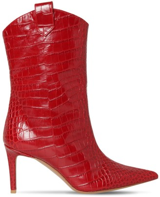 Alexandre Vauthier 80mm Croc Embossed Leather Ankle Boots