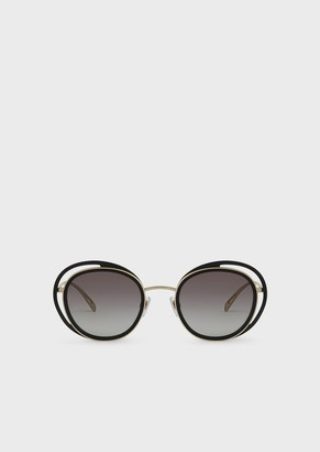 Giorgio Armani Sunglasses With Round Open Lenses Frame