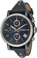 Fossil Women's Quartz Stainless Steel and Leather Casual Watch, Color:Blue (Model: ES4113)