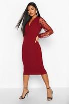 boohoo Polka Dot Mesh Sleeve Wrap Midi Dress