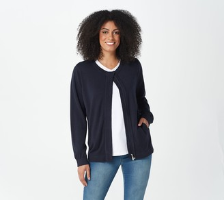 Martha Stewart Zip-Front Sweater Bomber Jacket
