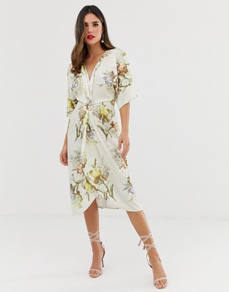Hope & Ivy knot front midi dress in summer floral print