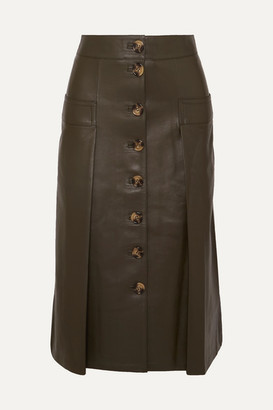 Dodo Bar Or Galina Leather Midi Skirt - Burgundy