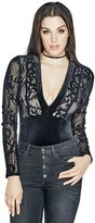 GUESS Deena Flocked-Lace Bodysuit
