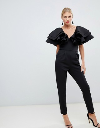 True Violet plunge front jumpsuit with shoulder frill detail in black
