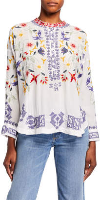 Johnny Was Mariposa Embroidered Button-Placket Silk Blouse