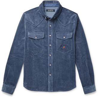 Billionaire Boys Club Button-Down Collar Logo-Embroidered Cotton-Corduroy Shirt