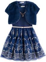 Knitworks Girls 7-16 & Plus Size Faux-Fur Bolero & Belted Glitter Skater Dress with Necklace