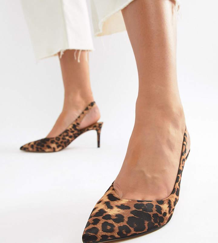 982124c5141 Asos Design ASOS DESIGN Wide Fit Slingback Mid Heels in Leopard