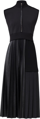Schumacher Dorothee Modern Gloss Neoprene-Paneled Faux Leather Dress