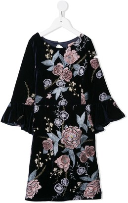 Marchesa Notte Mini Embroidered Floral Dress