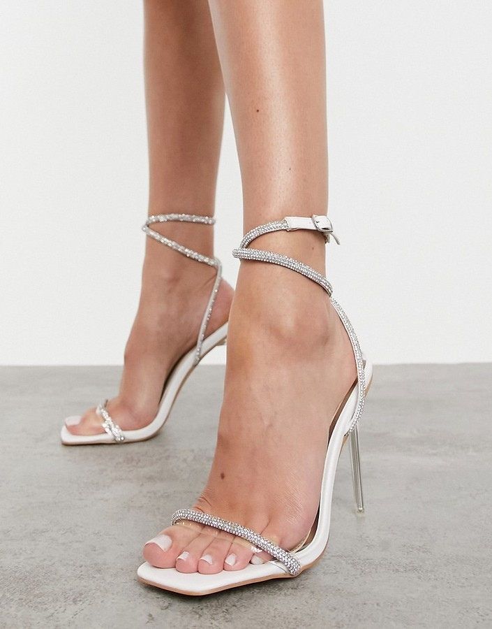 Be Mine Bridal Emberly clear heeled sandal with diamante detail