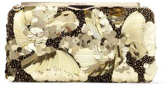 Jimmy Choo ELLIPSE Black and Gold Suede Clutch Bag with Flower Sequin Embroidery