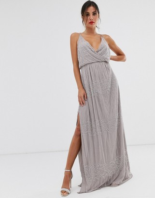 ASOS DESIGN wrap bodice maxi dress in linear and floral embellishment