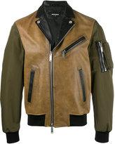 DSQUARED2 contrast tone biker jacket - men - Calf Leather/Polyester - 46