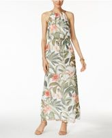 Connected Printed Chain-Link Blouson Maxi Dress