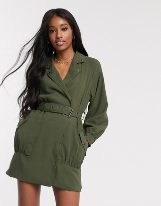In The Style x Jac Jossa belted biker dress in khaki