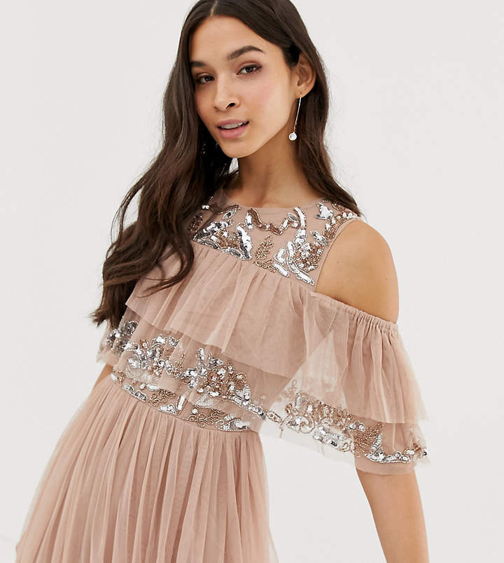 Maya cold shoulder ruffle and sequin detail tulle maxi dress in taupe blush