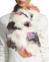 Pologeorgis Fox Fur Scarf, White/Multicolor