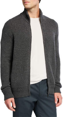 Loro Piana Men's Cashmere Zip-Front Sweater