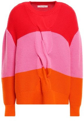 Chinti and Parker Color-block Cable-knit Wool And Cashmere-blend Sweater