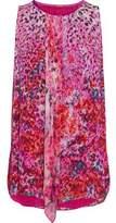 Elie Tahari Draped Printed Metallic Silk-Blend Georgette Top