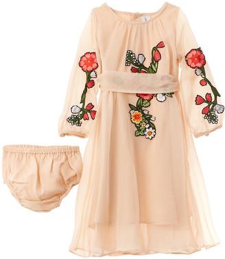 Oscar de la Renta Chiffon Floral Silk Dress