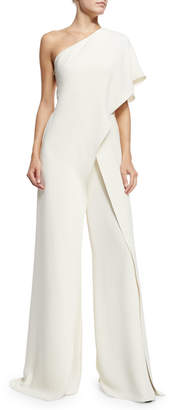 Ralph Lauren One-Shoulder Silk Crepe Jumpsuit, Ivory