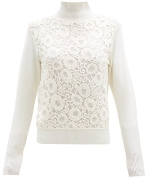 Chloé Roll-neck Floral Cotton-blend Lace Sweater - Ivory