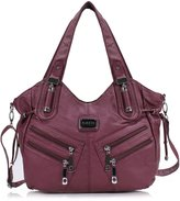 Scarleton Front Zippers Washed Shoulder Bag H147604A - Brown