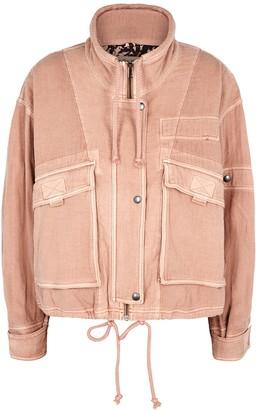 Free People Eyes On You dusky pink cotton jacket