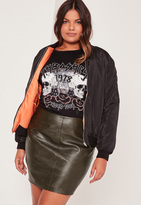 Missguided Plus Size Faux Leather Mini Skirt Khaki