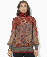 Lauren Ralph Lauren Top, Puff-Sleeve Printed Mock-Neck Blouse