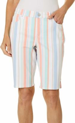 Gloria Vanderbilt Women's Petite Mid Rise Belted Jean Bermuda Short