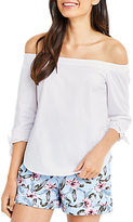 Oasis Cotton Long Sleeve Bardot Top, White