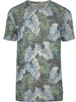Jack and Jones River Island Mens Blue leaf print T-shirt