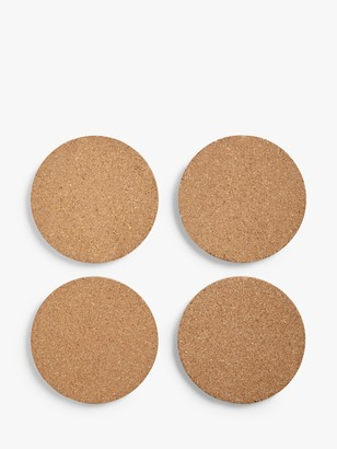 John Lewis & Partners Round Cork Coasters, Set of 4, Natural