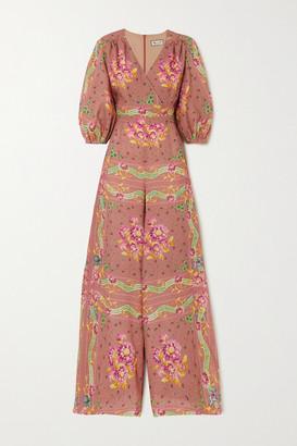 Paul & Joe Wrap-effect Floral-print Linen Jumpsuit - Orange
