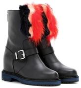 Fendi Fur-embellished leather ankle boots