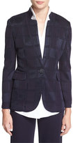 Misook Textured Square One-Button Jacket, Navy, Plus Size